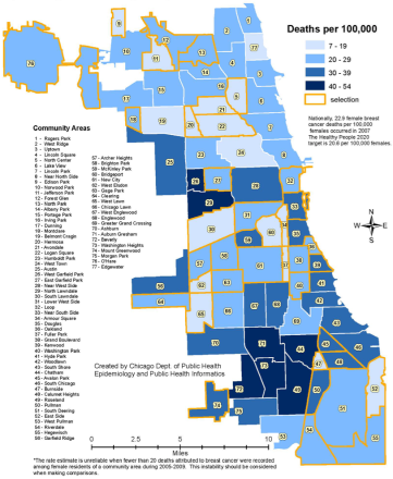 Cancer deaths, by Chicago neighborhood.