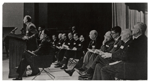 U.S. Surgeon General Luther Terry addressing press conference at release of the 1964 Report on Smoking and Health. (Archives of The National Library of Medicine)